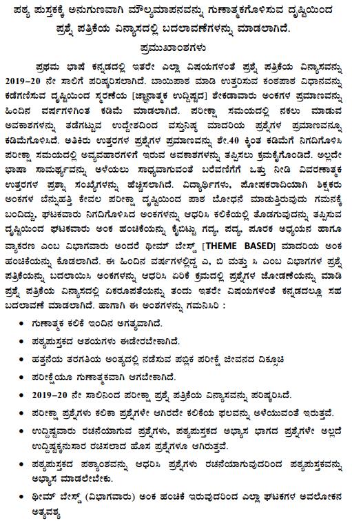 Karnataka SSLC 1st Language Kannada Model Question Paper Design 1