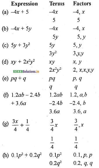 KSEEB Solutions for Class 7 Maths Chapter 12 Algebraic Expressions Ex 12.1 6