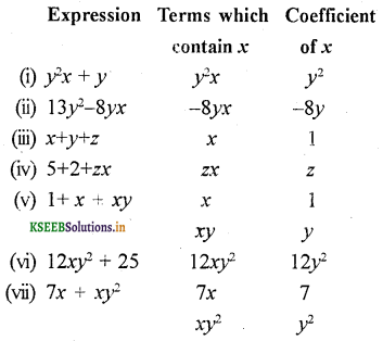 KSEEB Solutions for Class 7 Maths Chapter 12 Algebraic Expressions Ex 12.1 8